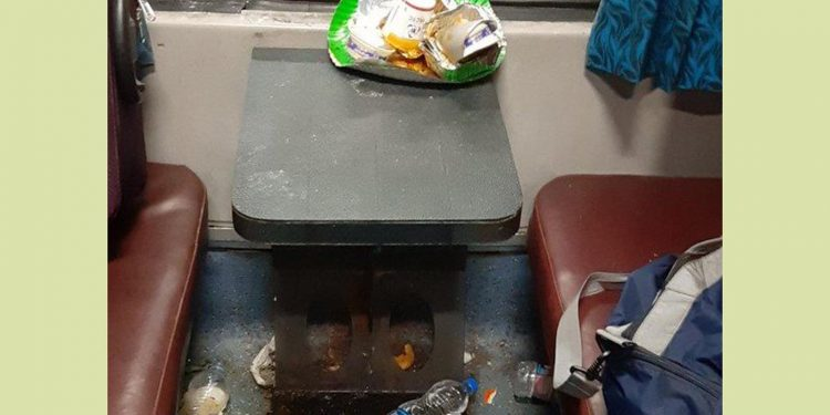 Littered items in train