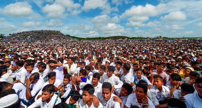 Thousands of Rohingya refugees in Bangladesh take out a massive protest rally on Sunday.