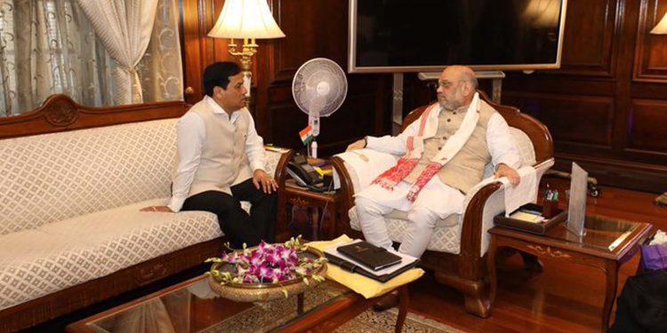 Sarbananda Sonowal with Amit Shah
