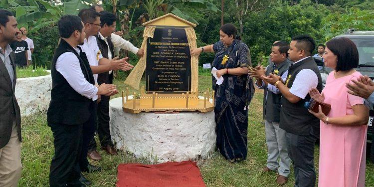 Union minister Smriti Irani lays foundation stone of Integrated Textiles Tourism Complex at Nongpoh on Monday.