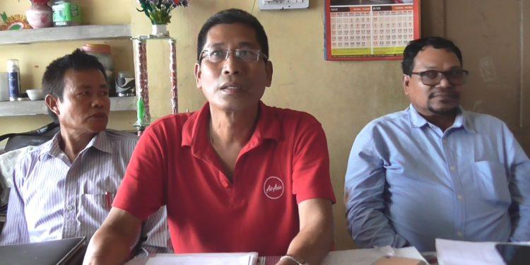 TUIPC chief Anant Debbarma addressing a press conference on Saturday.