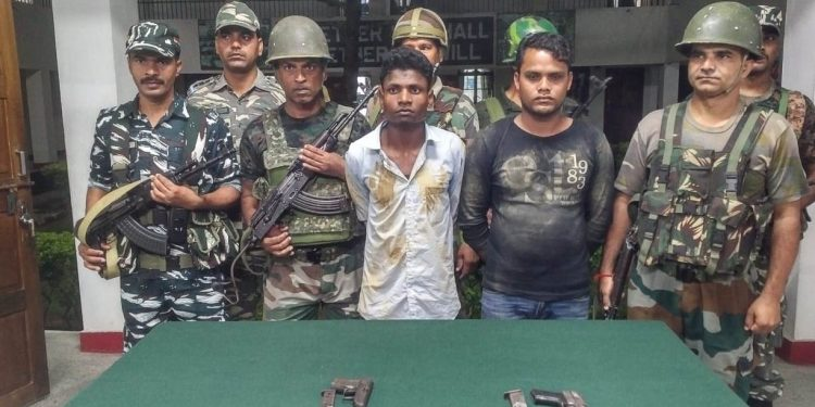 The two arrested ULFA (I) rebels at Nampong police station on Sunday.