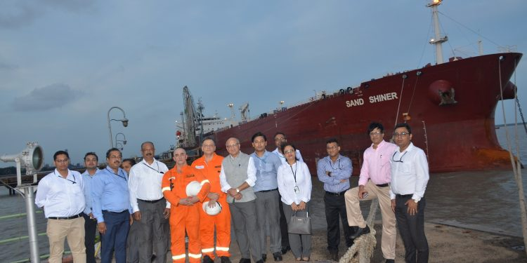 NRL officials with vessel Sand Shiner from Malaysia at Haldia port.