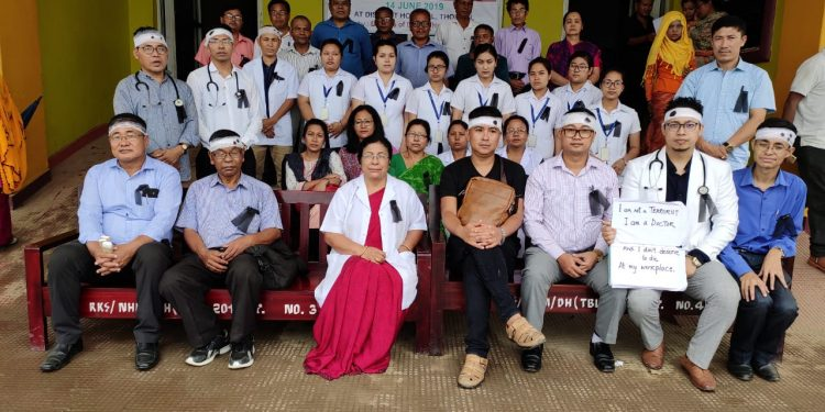 File image of doctors agitating in Manipur recently. Image: Northeast Now
