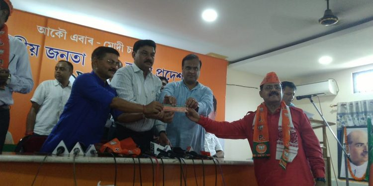 Former Congress minister Gautam Roy joining the BJP in Guwahati (File image)