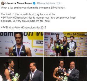 Himanta joins Twitterati in congratulating shuttlers P V Sindhu and Sai Praneeth 1