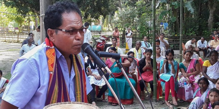 President of All Assam Koch Association,Prabhat Banai Koch speaking at the awareness meet at Kalaigaon in Udalguri on August 18, 2019. Image: Northeast Now
