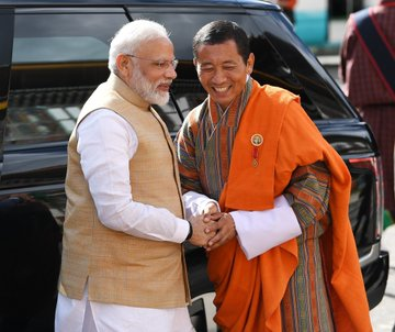 Prime Minister Narendra Modi with his Bhutan counterpart Lotay Tshering.  Image courtesy: Twitter