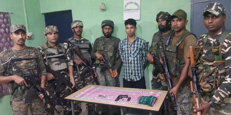 Arrested NDFB(S) cadre Dipak Basumatry (centre)