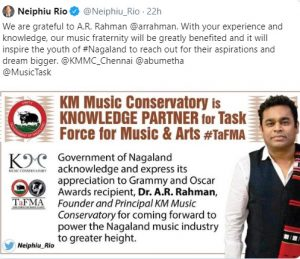 A R Rahman's institute partners with Nagaland government 1