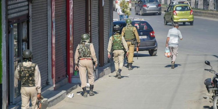 Security personnel in Srinagar.