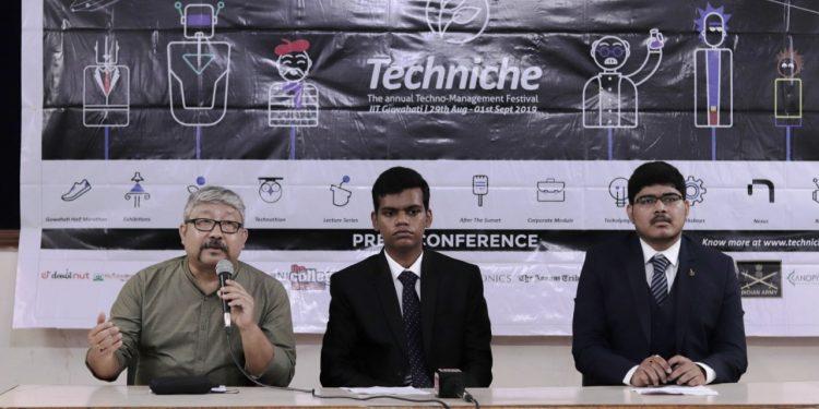 (From left to right) Labanu K Konwar, assistant registrar of Public Relations IIT-G; Suraj Shelke, convener of Techniche'19 and Gopi Krishna, head of Media Relations of Techniche'19 addressing media at Guwahati Press Club on August 23, 2019. Handout image