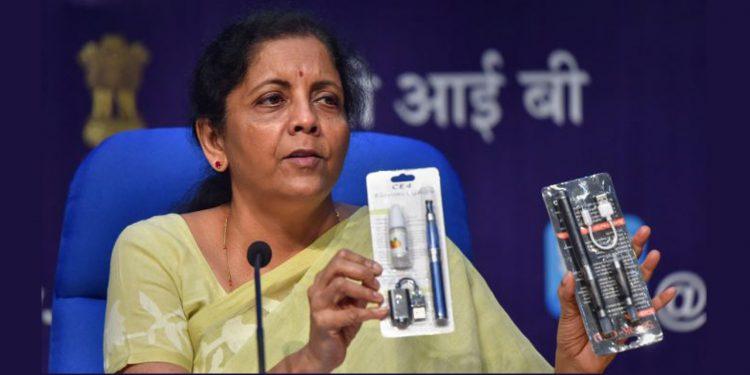 Finance minister Nirmala Sitharaman announcing government's decision to ban e-cigarettes.