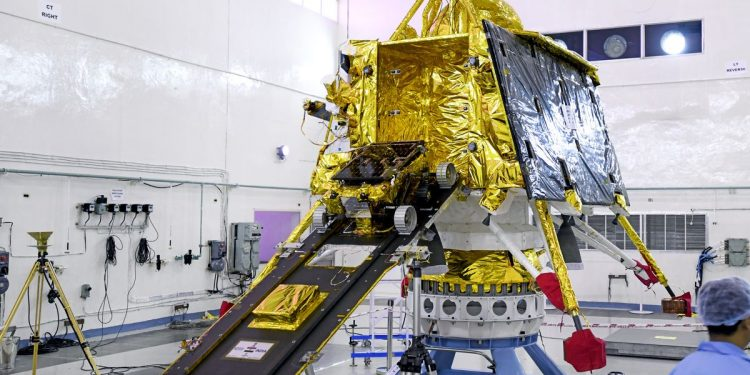 India's Vikram lander, with it the Pragyan rover, before launch. Image credit: The Verge