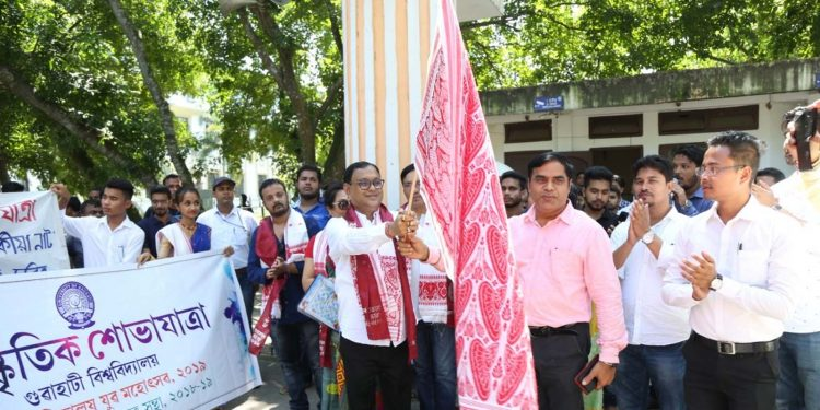 AASU president Dipanka Nath inaugurating the cultural procession of the Inter-College Youth Festival of Gauhati University on Sunday. Image credit - Northeast Now