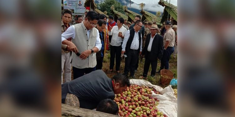 Mhathung Yanthan and officials inspecting Apple stalls. Image credit: Eastern Mirror