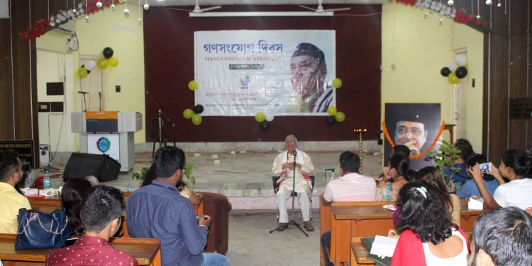Veteran theatre activist Ratna Ojha delivering the Mass Communication Day lecture on Sunday. Image: Northeast Now