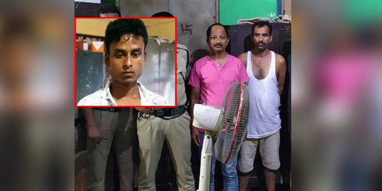 Sahed Ali (inset) and Bipul Gogoi (left) and Manik Dutta (right) in police custody. Image: Northeast Now