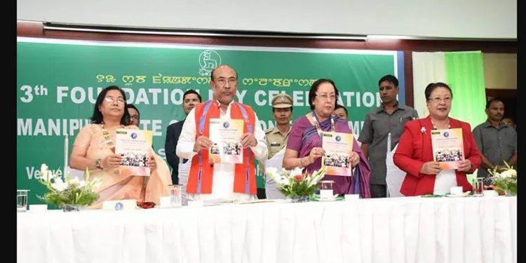 Manipur Governor Najma Heptulla (second right) attending the 13th Foundation Day Celebration of MSCW with CM N Biren Singh (second from left). Image credit: Twitter