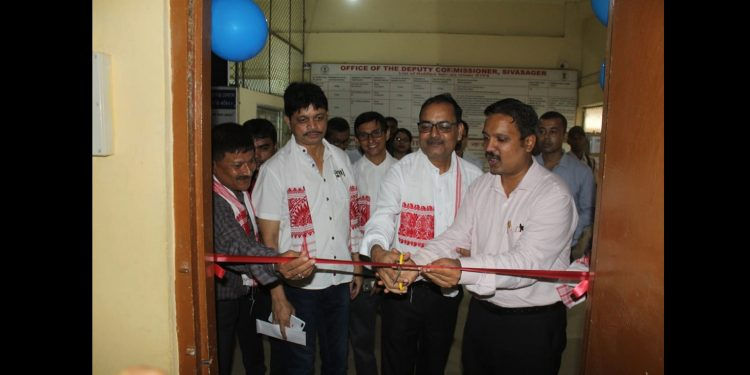 Sivasagar DC Dr Dr S Lakshmanan (1st from right) inaugurating e-stamping centre at DC office