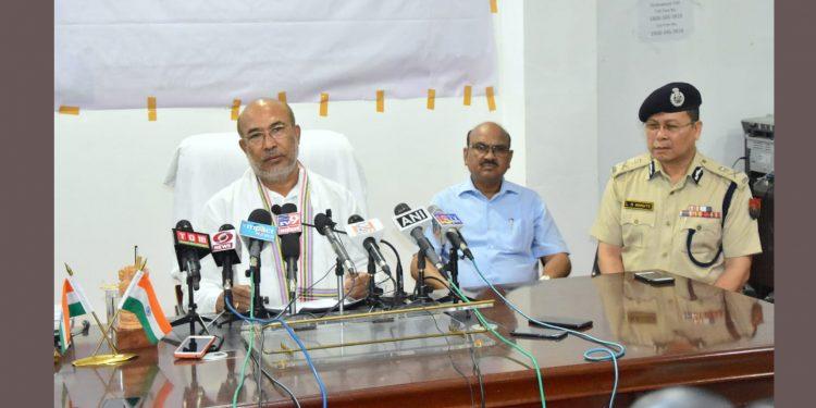Manipur CM N Biren Singh addressing the media on Friday. Image credit: Twitter