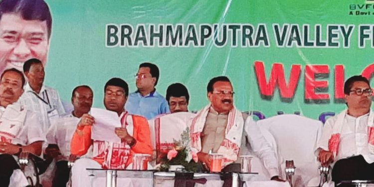 Union fertilizers minister DV Sadananda Gowda (3rd from left) with other dignitaries. Image: Northeast Now