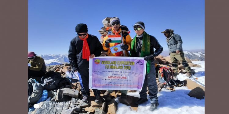 The mountaineers from Kokrajhar after scaling the summit. Image: Northeast Now