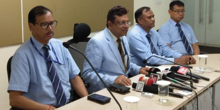 AAI regional executive director Sanjeev Jindal addressing a press conference in Guwahati on Thursday.