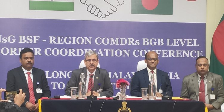BGB and BSF officials at the inspectors general-region commanders conference between BSF and BGB in Shillong.