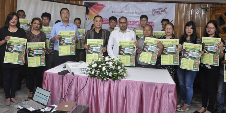Nagaland CEO Abhijit Sinha along with others launching 'Electors Verification Programme' at Kohima on Sunday.