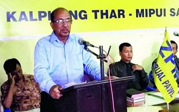File Photo of ZPM VP, Dr. Kenneth Chawngliana, addressing a party meeting. Image: Northeast Now