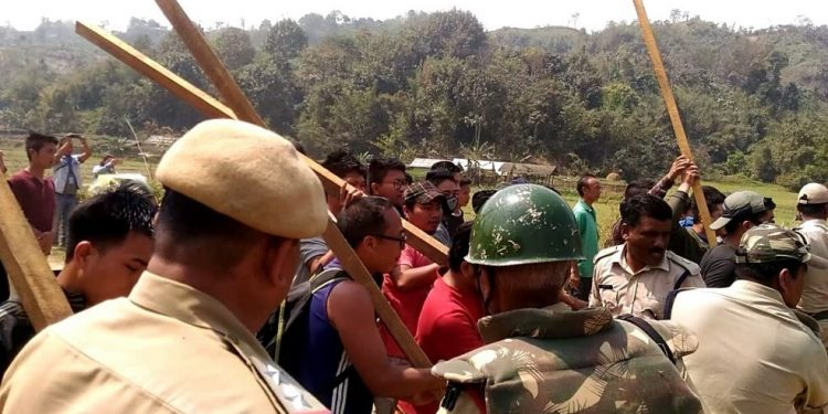 File image of clashes on the disputed Zophai area between Mizoram and Assam