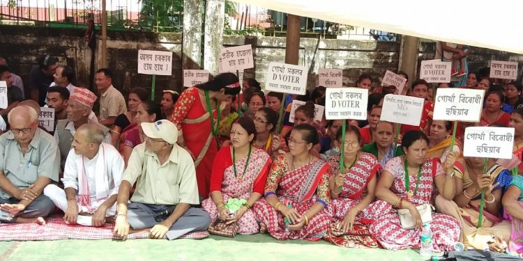 People belonging to Gorkha community stage a protest in Goalpara on Friday.