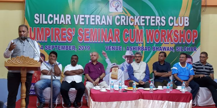 ACA secretary Devajit Saikia speaking at the event in Silchar on Friday.