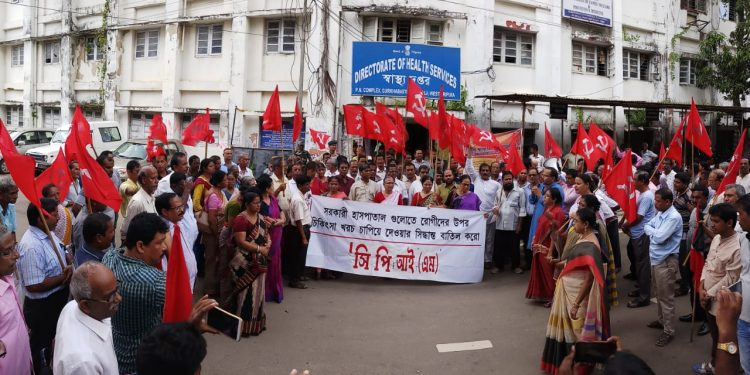 CPIM-M activists stage protest in Agartala on Monday.