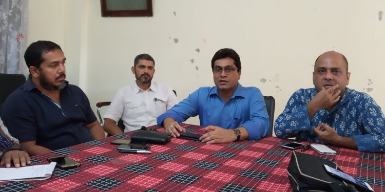 MP from Silchar, Dr Rajdeep Roy along with members of Jyoti, a socio-literary organization based in Silchar addressing the Press on September 19, 2019. Image: Northeast Now