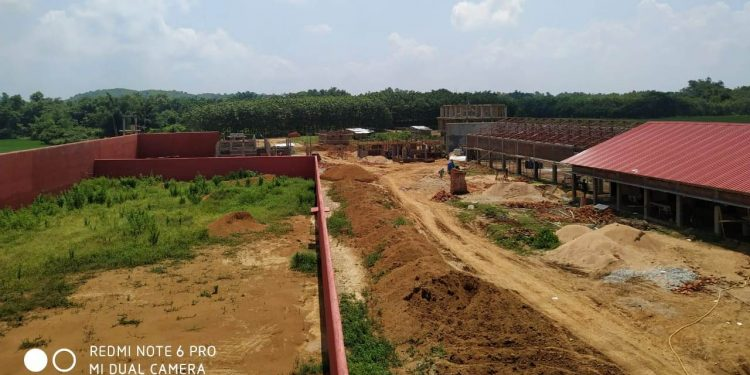 The construction of Assam's largest detention centre is going on in full swing at Matia.