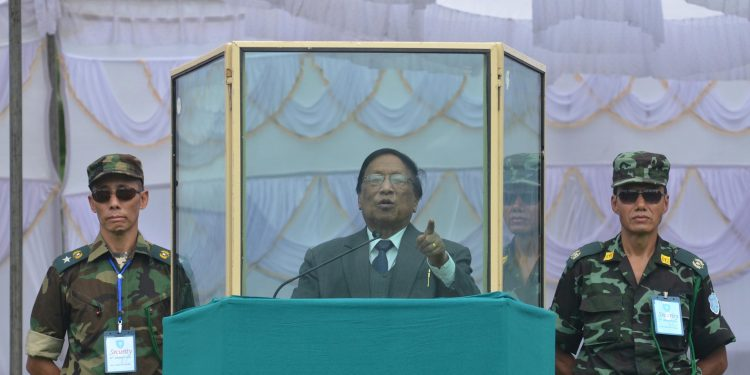 NSCN (IM) general secretary Th Muivah addresses during the 69th Naga Independence Day celebration at Camp Hebron in Nagaland. File image: Caisii Mao