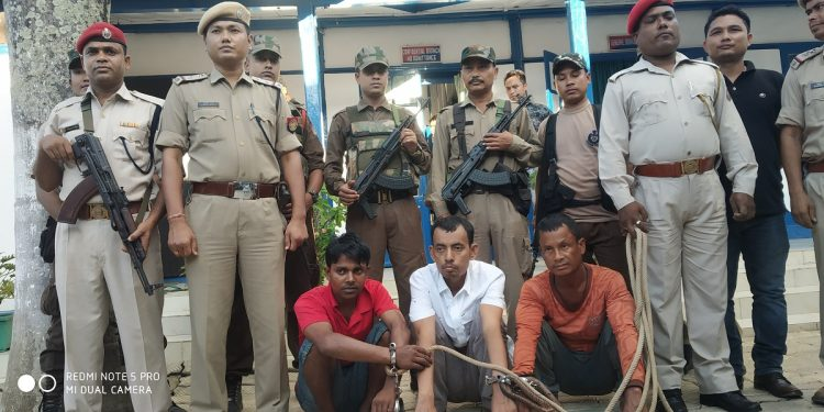 The three kidnappers. Sitting in the middle prime accused Tapan Teron. Image: Northeast Now