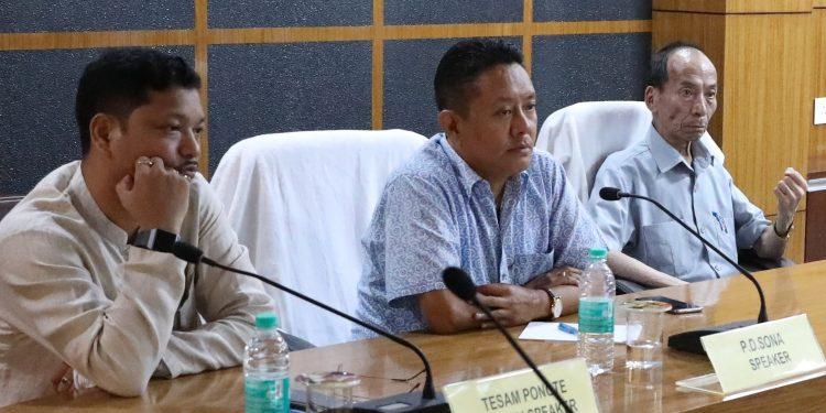 Assembly speaker Pasang Dorjee Sona (c) at the review meet at Itanagar on Thursday.