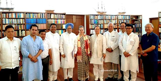 Congress interim president Sonia Gandhi with party leaders from Northeast in New Delhi on Friday.