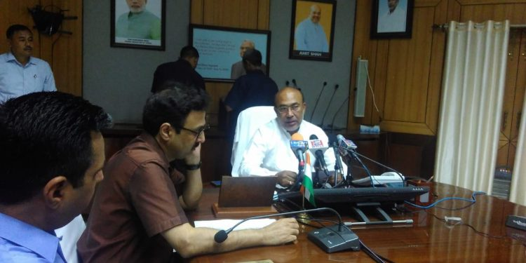Manipur chief minister N Biren speaking to media in Imphal on September 21, 2019. Image: Northeast Now