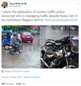 Hima praises woman traffic constable on duty despite heavy rains 1