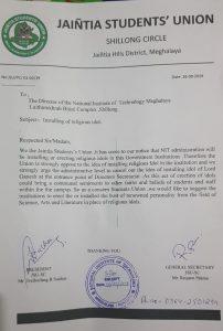 Jaintia Students' Union opposes installing of religious idols in NIT Meghalaya 1