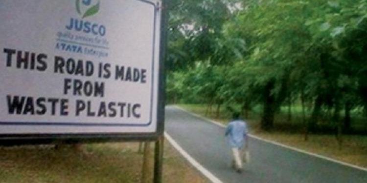 road with plastic wastes