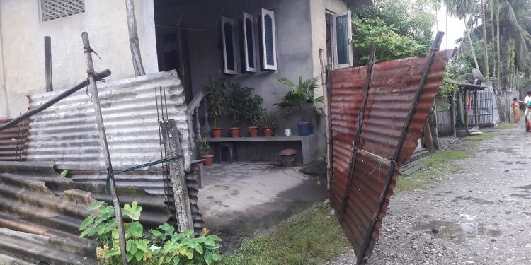 The house of Ali Akbar located in the Subhaspolly locality of Tangla town which was barged by bike lifters on Monday night. Image: Northeast Now