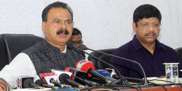 Minister Chandra Mohan Patowary addressing a press conference in Guwahati. (File image)