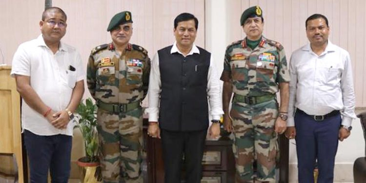 Assam chief minister Sarbananda Sonowal along with the GOCs of 3 Corps and 2nd Mountain Division at Dinjan Army Camp in Dibrugarh district on October 5, 2019. Image by UB Photos