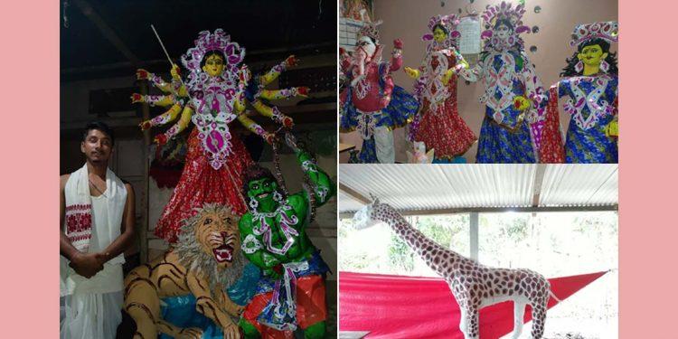 Durga Puja idols with newspapers