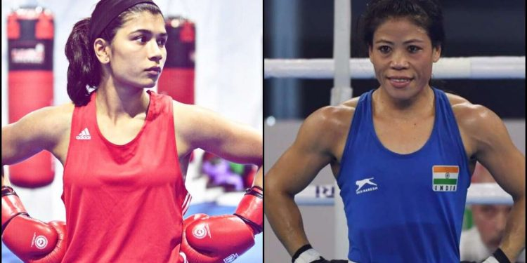 Nikhat Zareen (left) challenges Mary Kom for a trial bout. Image credit: DNA